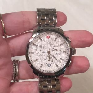 Michele diamond and stainless steel watch